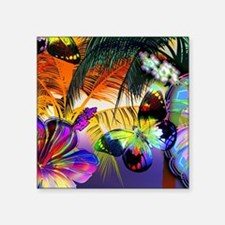 "Tropical Butterflies Square Sticker 3"" x 3"""