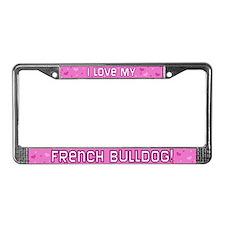 Pink Polka Dot French Bulldog License Plate Frame