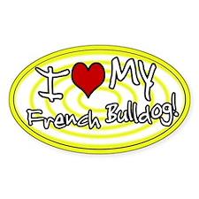 Hypno I Love My French Bulldog Oval Sticker Ylw