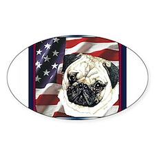 Pug Dog Patriotic USA Flag Oval Decal