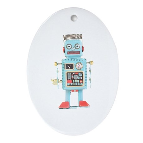 Classic Tin Robot Oval Ornament