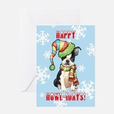 Holiday Boston Terrier Greeting Card