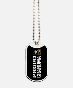 U.S. Army: Proud Grandma (Black) Dog Tags