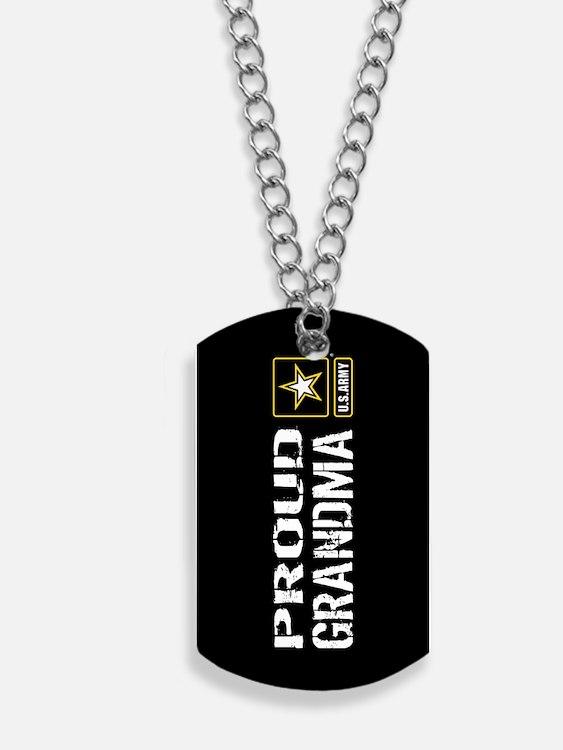 U.S. Army: Proud Grandma (Black) Dog Tags