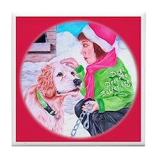 Girl Unchains Dog - Holiday Tile Coaster