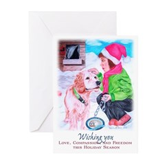 Girl Unchains Dog - Holiday Greeting Cards (Pk of