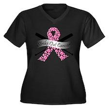 Strike Out Cancer Ribbon Plus Size T-Shirt