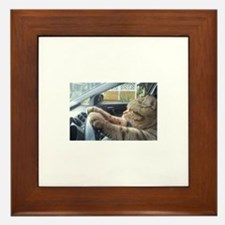 Driving Cat Framed Tile