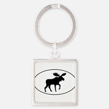 Moose Oval Keychains