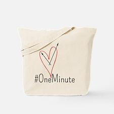 #OneMinute Heart Tote Bag
