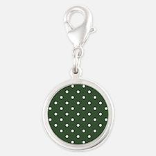 Polka Dots Pattern: Pine Green Silver Round Charm