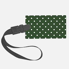 Polka Dots Pattern: Pine Green Luggage Tag