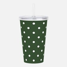 Green, Pine: Polka Dot Acrylic Double-wall Tumbler
