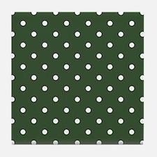 Polka Dots Pattern: Pine Green Tile Coaster