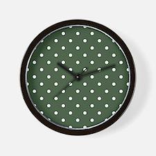 Polka Dots Pattern: Pine Green Wall Clock
