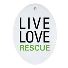 Live Love Rescue Oval Ornament