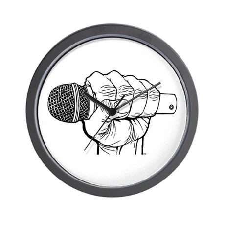 Microphone Fist Wall Clock