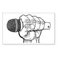 Microphone Fist Rectangle Decal