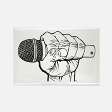 Microphone Fist Rectangle Magnet