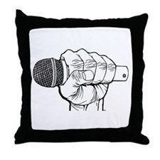 Microphone Fist Throw Pillow