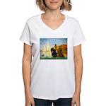 Sailboats / Dachshund Women's V-Neck T-Shirt