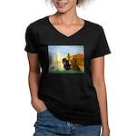 Sailboats / Dachshund Women's V-Neck Dark T-Shirt