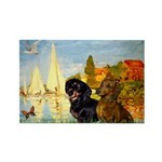 Sailboats / Dachshund Rectangle Magnet (10 pack)