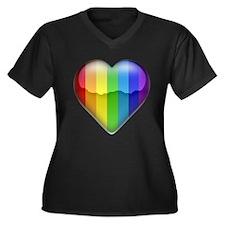 Rainbow Heart 1 Women's Plus Size V-Neck Dark T-Sh