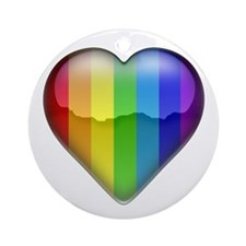 Rainbow Heart 1 Ornament (Round)