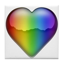Rainbow Heart 2 Tile Coaster