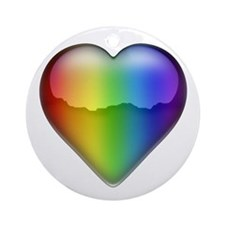 Rainbow Heart 2 Ornament (Round)