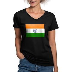 India Women's V-Neck Dark T-Shirt