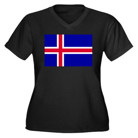Iceland Women's Plus Size V-Neck Dark T-Shirt