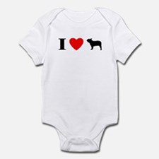 I Heart French Bulldog Baby Bodysuit