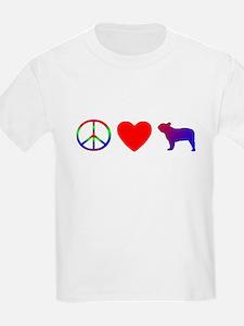 Peace, Love, French Bulldog T-Shirt