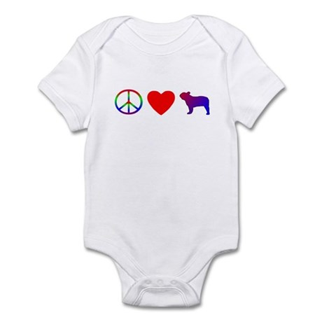 Peace, Love, French Bulldog Baby Bodysuit