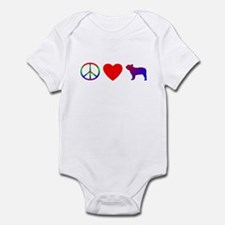 Peace, Love, French Bulldog Baby Bodysuit