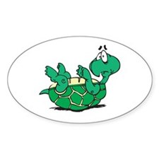Scared Little Turtle Oval Decal