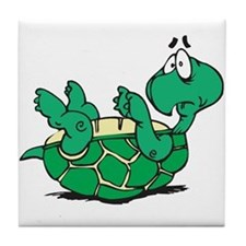 Scared Little Turtle Tile Coaster