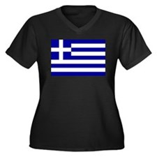 Greece Women's Plus Size V-Neck Dark T-Shirt