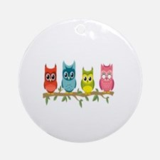 Unique Owl box Round Ornament