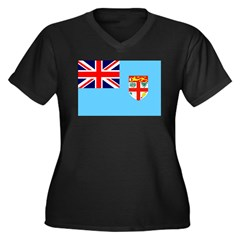Fiji Women's Plus Size V-Neck Dark T-Shirt