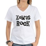 Zebras Rock Zebra Zoo Animal Women's V-Neck T-Shir