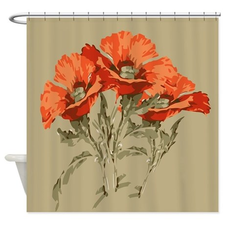 Red Poppies Shower Curtain by ADMIN CP