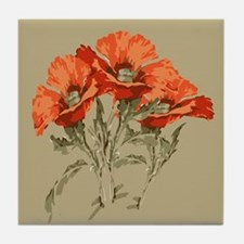 Red Poppies Tile Coaster
