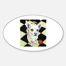 Chihuahua & Red Ball Oval Stickers
