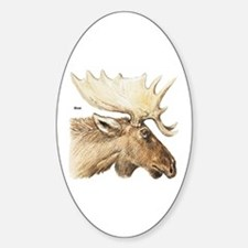 Moose Antler Head Oval Decal