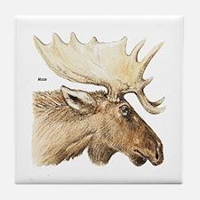 Moose Antler Head Tile Coaster