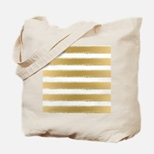 Grungy Gold And White Stripes Pattern Tote Bag