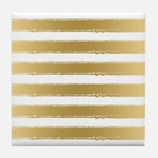 Grungy Gold And White Stripes Pattern Tile Coaster